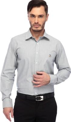 FRANK JEFFERSON Men's Striped Formal Grey Shirt