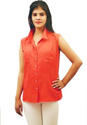 Virago Women's Solid Casual Orange Shirt