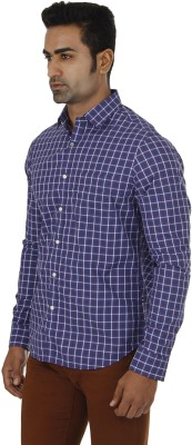 London Fog Men,s Checkered Casual Dark Blue Shirt