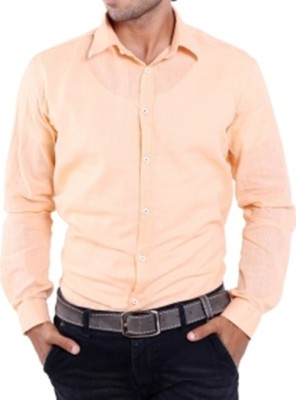 Aaral Men's Solid Casual Orange Shirt