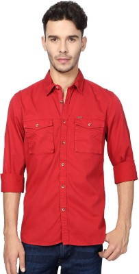 Peter England Men's Solid Casual Red Shirt