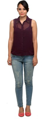 Attire By Kapsons Women's Solid Casual Maroon Shirt