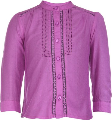 Budding Bees Baby Girl's Solid Casual Purple Shirt