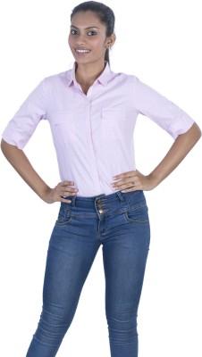 Elle Et Lui Women's Checkered Formal Pink Shirt