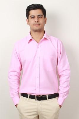 Frissk Men's Solid Formal Pink Shirt