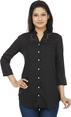 Today Fashion Women's Solid Casual Black Shirt
