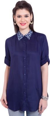 Tuntuk Women's Solid Casual Blue Shirt