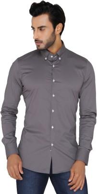 Mode De Base Italie Men's Solid Casual Grey Shirt