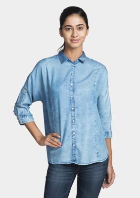 Bhane Women's Solid Casual Light Blue Shirt