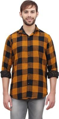 Volume Zero Men's Checkered Casual Reversible Yellow Shirt