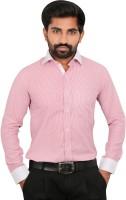 Caris Formal Shirts (Men's) - Caris Men's Striped Formal Linen Pink Shirt