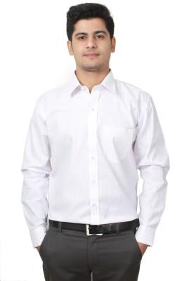 Frissk Men's Striped Formal White Shirt