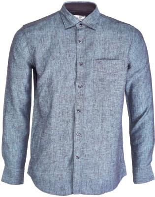 Nanya Men's Solid Casual Linen Grey Shirt
