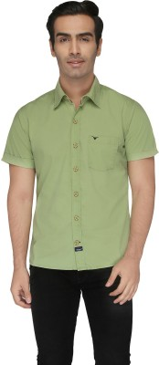 Again? Vintage Men's Solid Casual Green Shirt