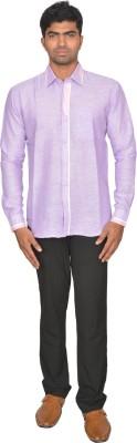 DoubleF Men's Solid Casual Purple Shirt