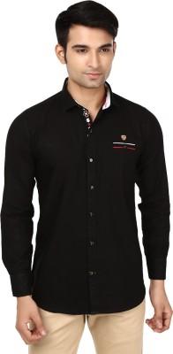 Flakes Fashion Men's Solid Casual Black Shirt