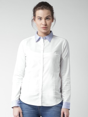 Mast & Harbour Women's Solid Casual White Shirt