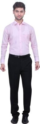 Trustedsnap Men's Solid Formal Linen Pink Shirt