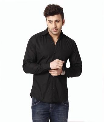 Rv Collection Men's Solid Casual Black Shirt
