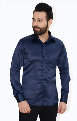 Big Brother Men's Solid Casual Blue Shirt