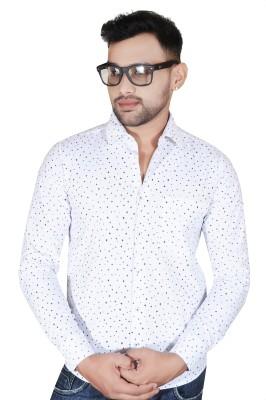 Fabrobe Men's Self Design Casual Black, White Shirt