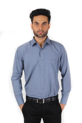 Spaky Men's Solid Formal Grey Shirt