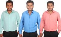 Maharaja Formal Shirts (Men's) - Maharaja Men's Solid Formal Blue, Pink, Green Shirt(Pack of 3)