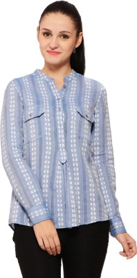 Global Colours Women's Printed Casual Blue Shirt
