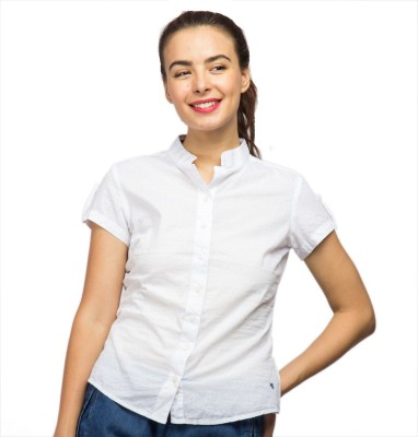 American Swan Women's Solid Casual White Shirt