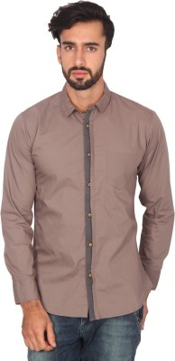 Ashford Brown Men's Solid Casual Grey Shirt