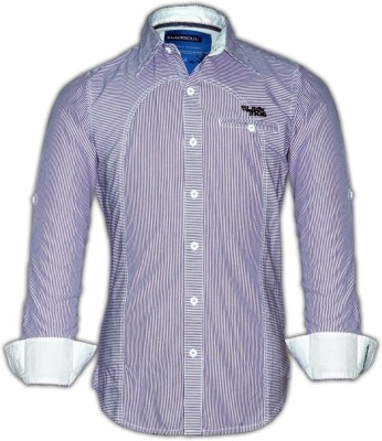Blacksoul Men's Striped Casual Purple Shirt