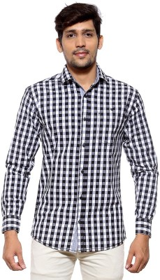 FIFTY TWO Men's Checkered Casual Black Shirt