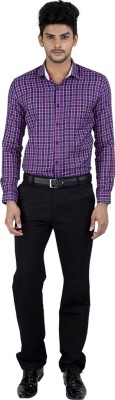 Independence Men's Checkered Formal Purple Shirt