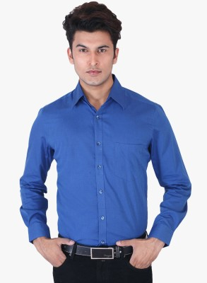 Regalfit Men's Solid Formal Blue Shirt