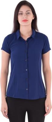 cutemad Women's Solid Formal Dark Blue Shirt