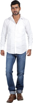 Sealion Men's Solid Casual White Shirt