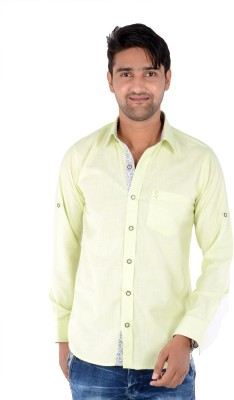 S9 Men's Solid, Woven, Printed Casual Light Green, Dark Blue, White Shirt