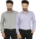 Jainish Men's Solid Formal Grey, Purple ...