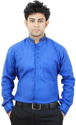 SIERA Men's Solid Casual Linen Blue Shirt