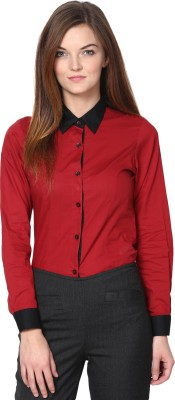 Dazzio Womens Solid Formal Red, Black Shirt