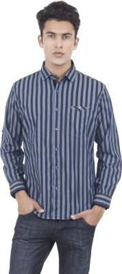 Eden Elliot Men's Striped Casual Black, Blue Shirt