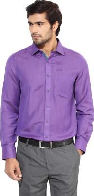 London Bridge Men's Solid Formal Purple Shirt