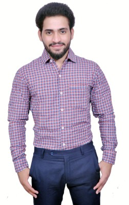 Style In Men's Checkered Casual Red Shirt