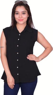 RIWAZ Women's Solid Casual Black Shirt