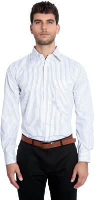 Estycal Men's Striped Formal White Shirt