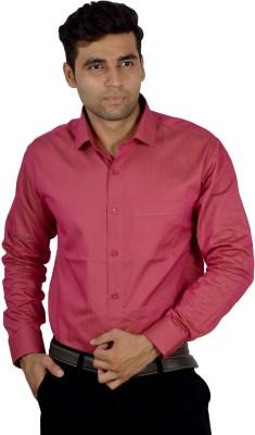 Studio Nexx Men's Striped, Solid Formal Pink Shirt