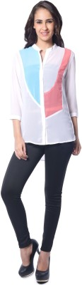 Florrie Fusion Women's Solid Casual Blue Shirt