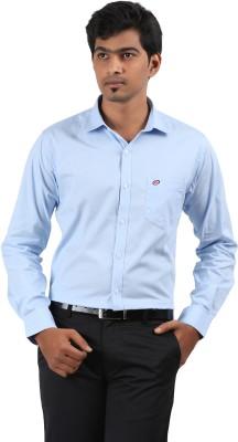Stoff Men's Solid Formal Blue Shirt