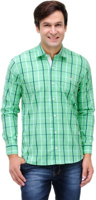 Nexq Men's Checkered Casual Green, White Shirt