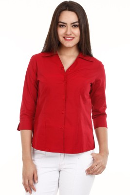 Mustard Women's Solid Casual Red Shirt